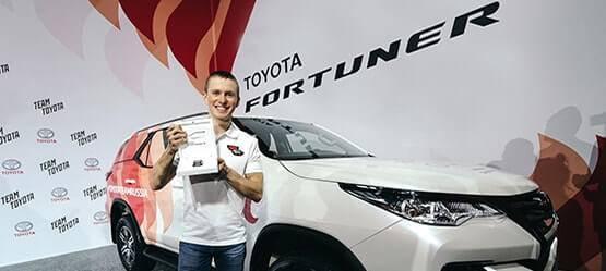 Toyota объявила имя победителя Toyota Challenge Сup! Наградой для олимпийца Дениса Спицова стал Toyota Fortuner